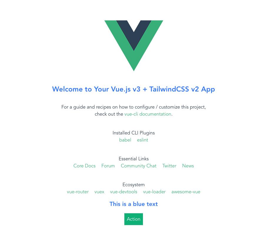 Vue app with TailwindCSS