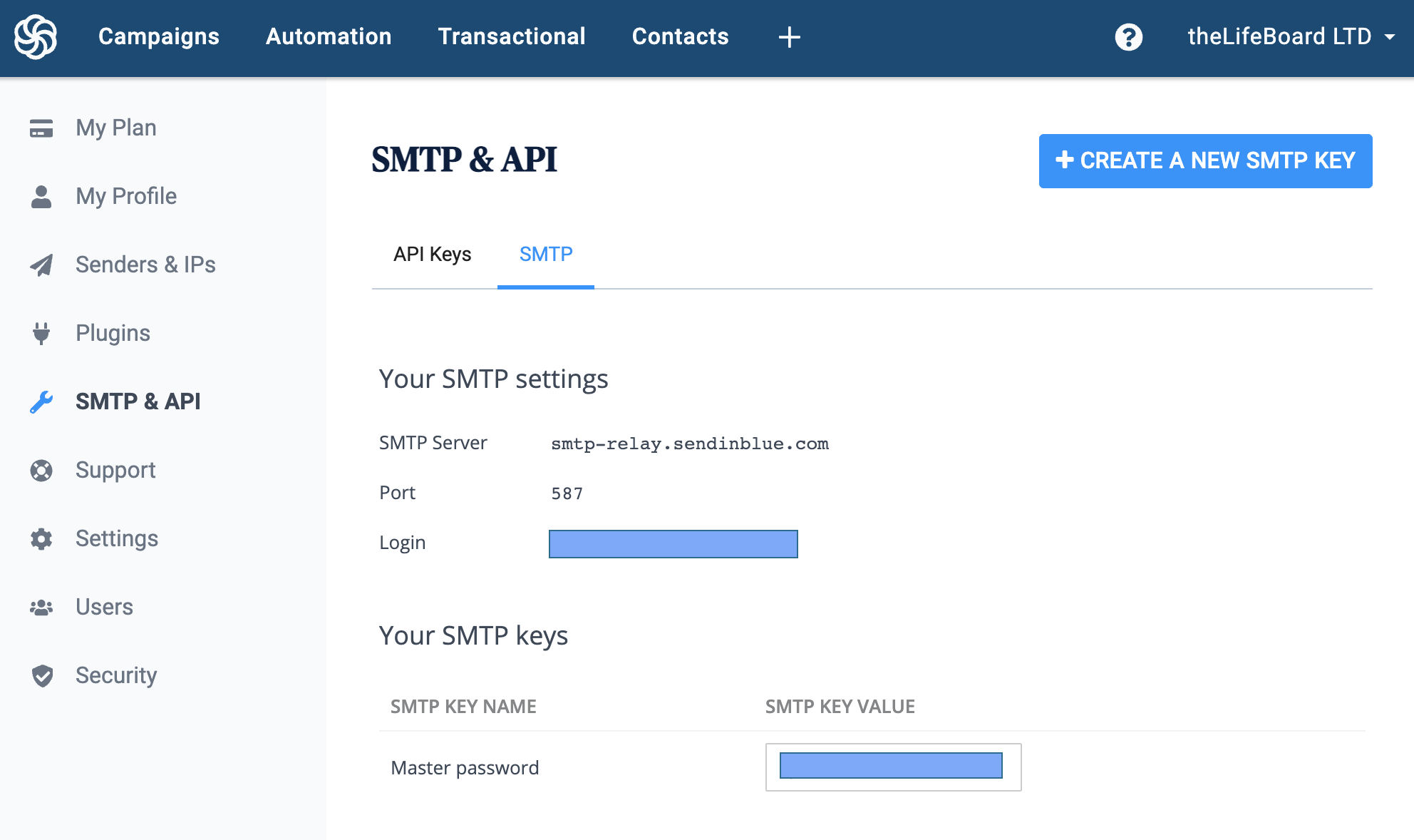 Sendinblue SMTP connection details