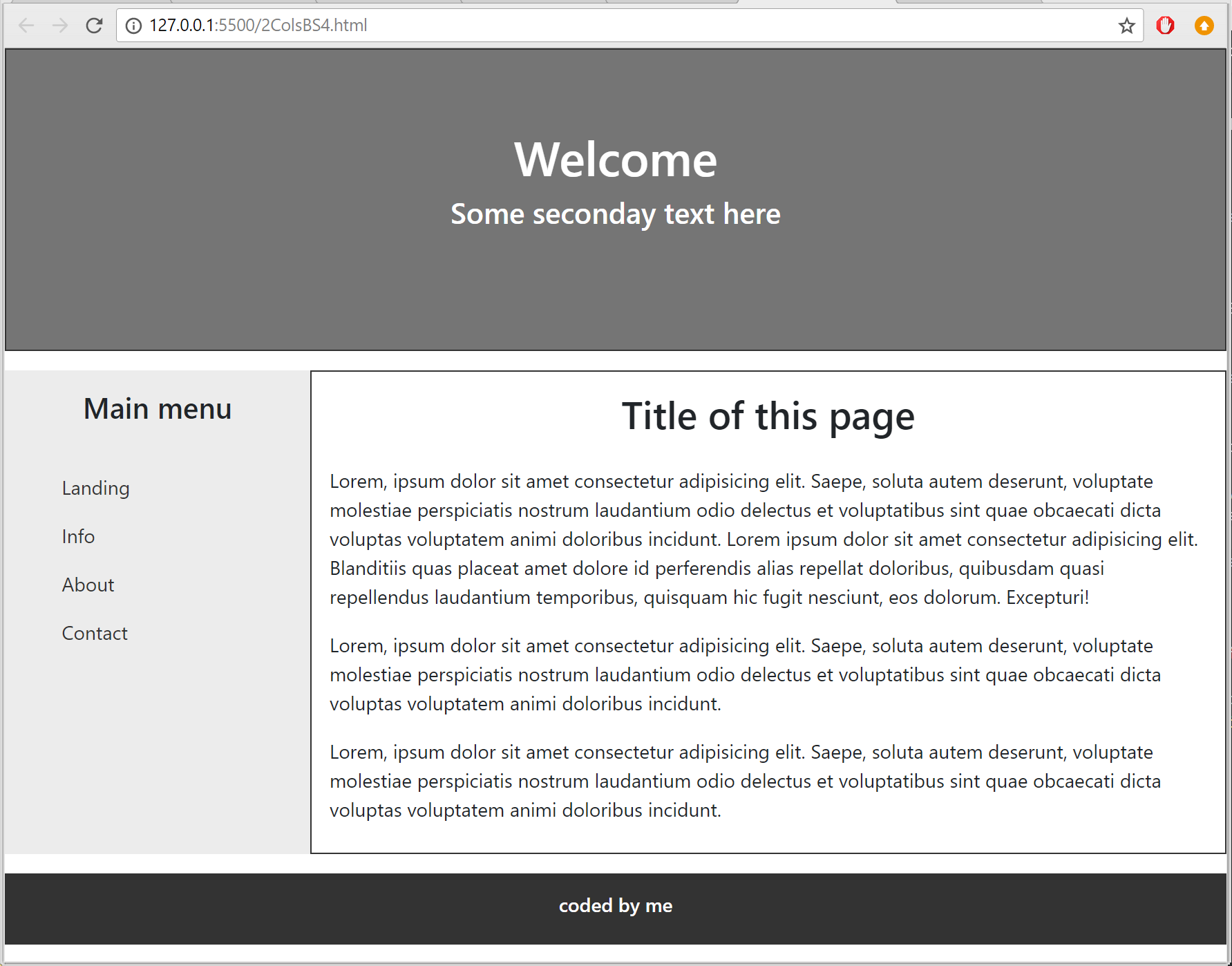 template built with Bootstrap4
