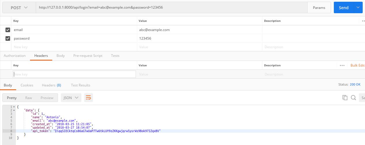 API login request