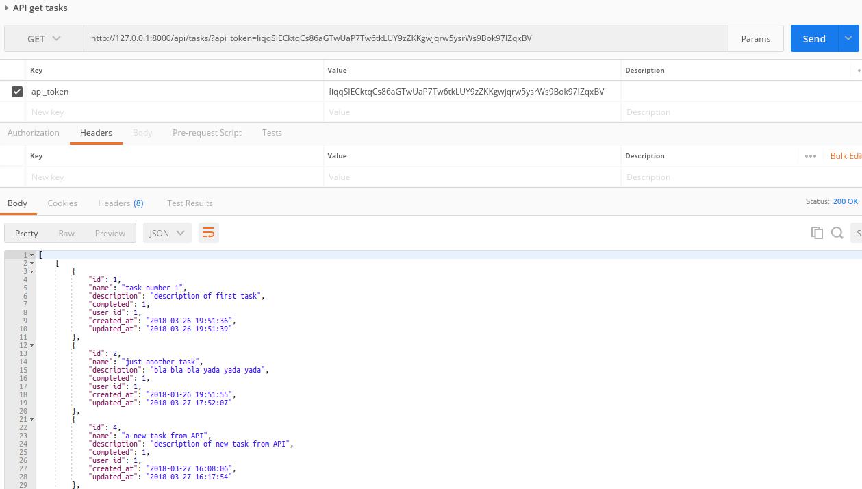 API GET tasks request