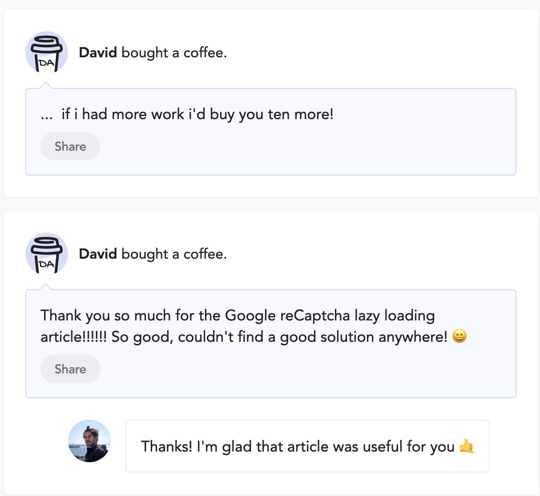Donation received via Buy me a coffee